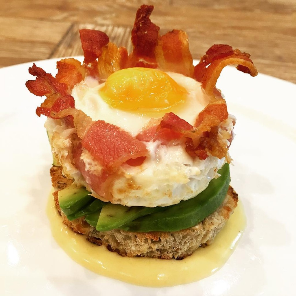 This avocado on toast with poached egg in a baconhellip