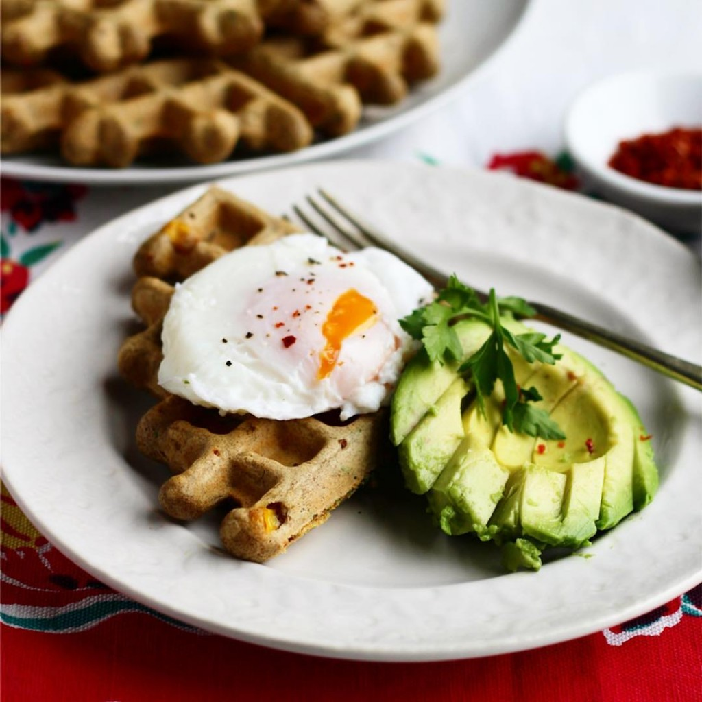 Gluten free waffles with avocado and poached egg perfect wayhellip