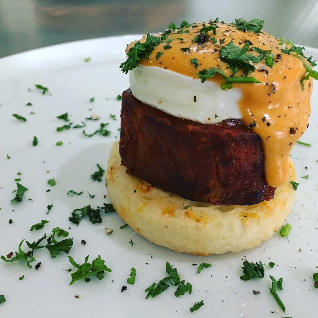 Homemade Crumpets SousVide Pan Fried Ribbon of Chorizo Poached Egghellip