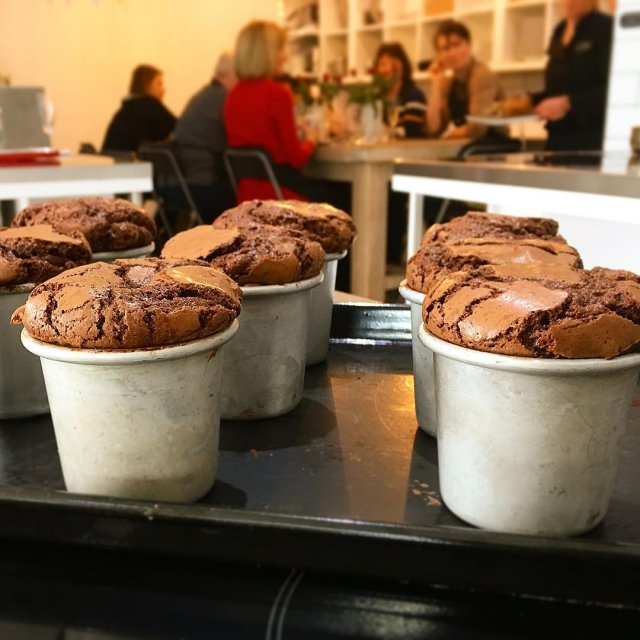 Oozing hot chocolate pots straight from the oven for ourhellip